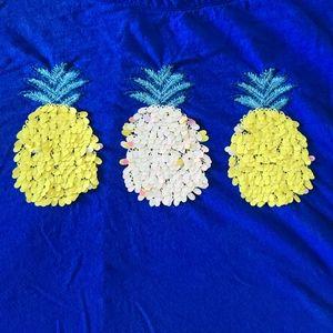 🍍Crown & Ivy Blue Sequin Pineapple TShirt - 2X 🍍